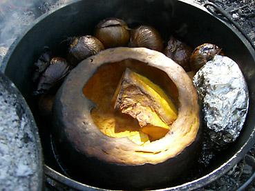 かぼちゃと玉ねぎの丸焼き